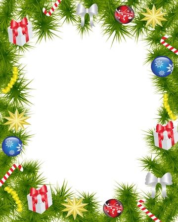 caramelos navidad: Marco de la Navidad hecha de ramas de abeto adornadas con decoraciones de Navidad, regalos, estrellas y caramelo Vectores