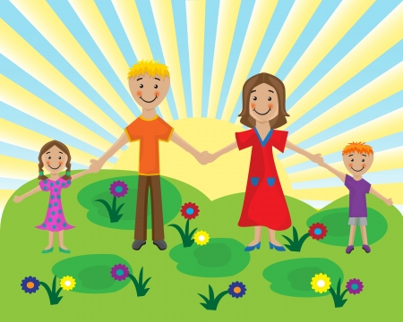 Mom, Dad and the kids are holding hands on the background solar lawn Vector