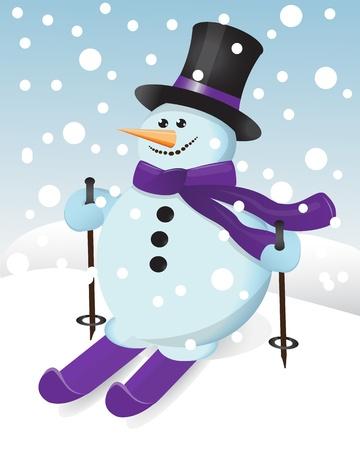 bonhomme de neige dans un chapeau, un foulard et de ski