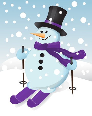 snowman in a hat, scarf and ski