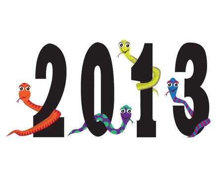 figures of the new year with the snakes of different colors. Vector