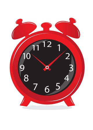 red alarm clock with black dial and the shadow Vector