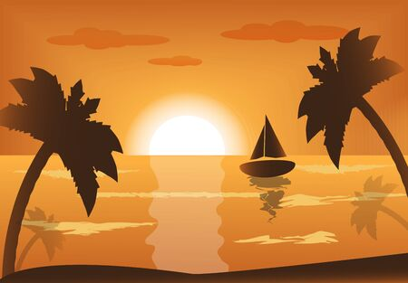 tropical beach panoramic: ship into the sea at sunset and palm trees   Illustration