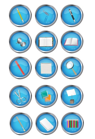 writing tools:   blue icons stationery- notebook, pen, brush, diary, book, magnifying glass, paper clips, buttons, ruler and scissors.