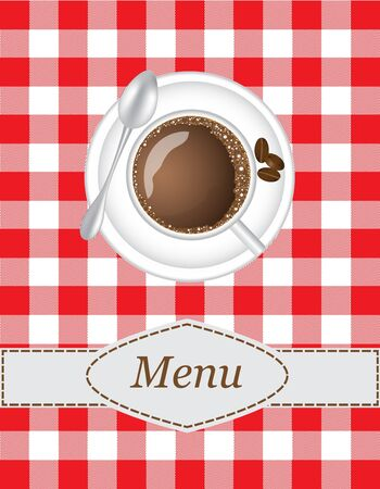 coffee menu with a picture of a cup of coffee on the tablecloth background Vector