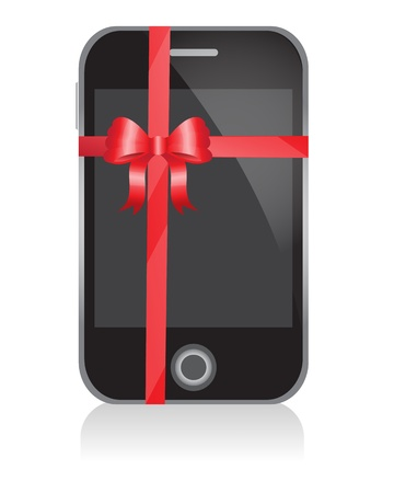 phone with a bow as a gift   Vector