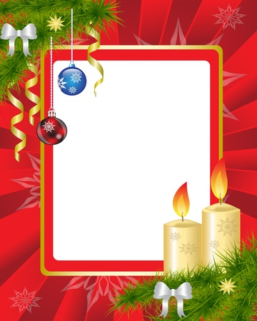 Christmas frame with Christmas decorations and candles Vector