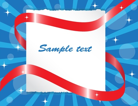 paper sheet entwined red ribbon on blue background   Vector
