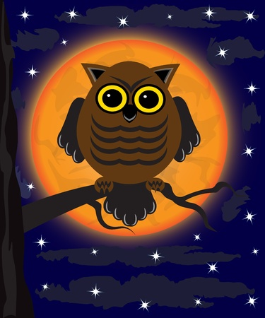 owl sitting on a branch against the moon Vector