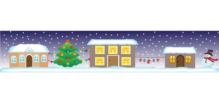 Seamless Christmas street with houses, Christmas tree, snowman and decorations. Vector