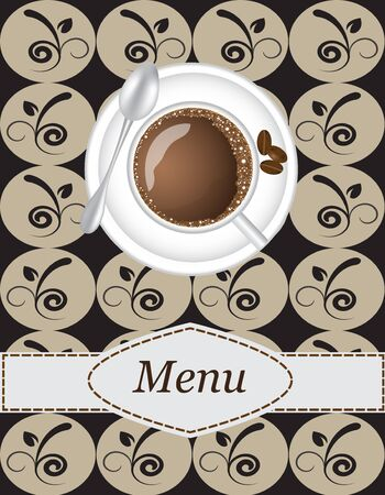 cafeteria: coffee menu with a picture of a cup of coffee on the tablecloth background Illustration