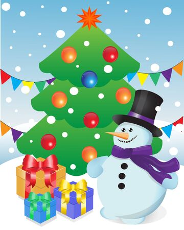 snowman and gifts on the background of the Christmas tree Stock Vector - 14961159