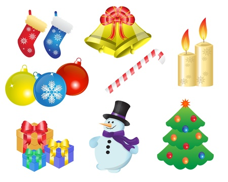 icons depicting various Christmas items and gifts Vector