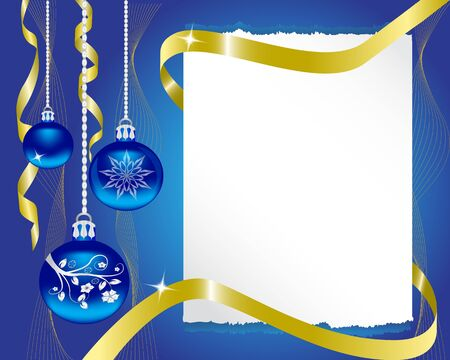 certificate bow: paper blue Christmas ornaments and gold ribbon shiny