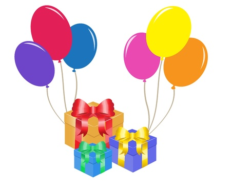 colorful balloons and gift boxes with bows   Stock Vector - 14988116