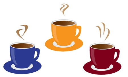 cup and saucer: three colored cups of coffee and steam Illustration