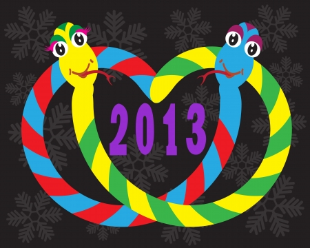 forked tongue: colorful snakes and numbers 2013 on a black background with snowflakes