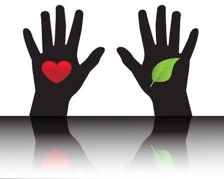 Black silhouettes of hands showing leaf and heart   Vector