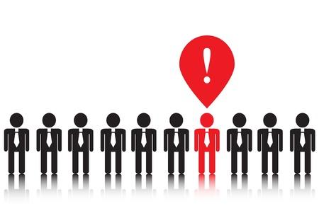 computer problems: personas iconos negros con corbatas Uno de ellos tiene una idea brillante que es de color rojo