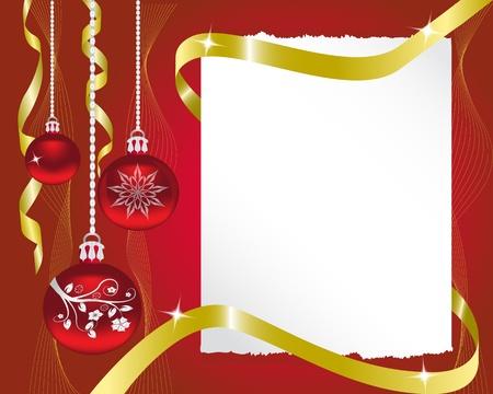 certificat diplome: Paper Rad d�corations de No�l et le ruban d'or brillant Illustration