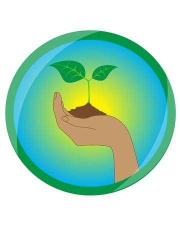 icon with the image of a hand holding the ground and sprout with leaves Stock Vector - 15124349