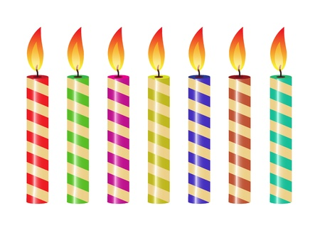 birthday candle: set of striped candles of different colors   Illustration