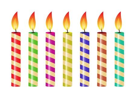 group of objects: set van gestreepte kaarsen van verschillende kleuren
