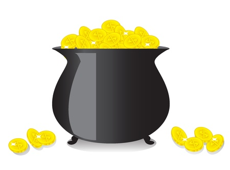 patrik: shiny black copper full of gold coins   Illustration