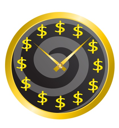 gold watch: gold watch with a dollar sign on the dial Illustration
