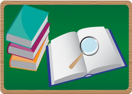 stack of books and magnifier on the background of an open book Vector