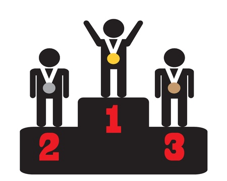 achievement clip art: icon awarding of medals on a pedestal