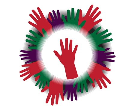 volunteers: Icon with silhouettes of hands symbolizing unity Illustration