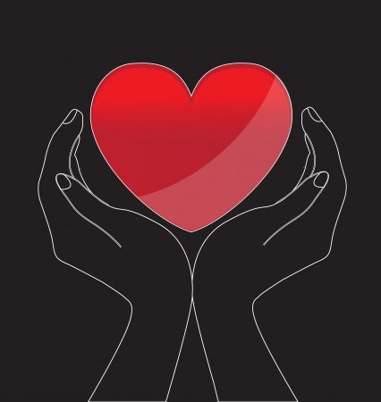 Silhouettes of two hands holding a heart on a black background Vector