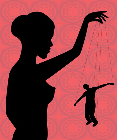 silhouette of a woman holding a man-puppet