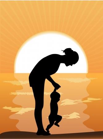 madre e hijo: Silueta madre lleva las manos del ni�o s en la puesta de sol junto al mar Vectores