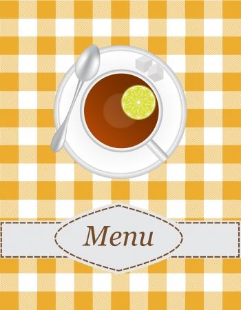 sip: t� men� con una imagen de una taza de t� con rodajas de lim�n y el az�car en el fondo mantel