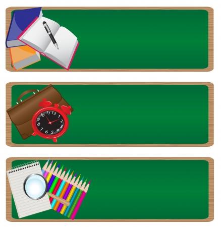 """föremål: uppsättning av tre banners """"back to school"""" med en bild av olika skolmaterial på bakgrund av skolans styrelse. Illustration"""