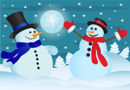 two snowmen in the night sky and the snow-covered forest   Ilustração