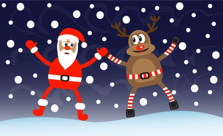 cartoon deer and Santa-Claus in snow and night Stock Vector - 15538925