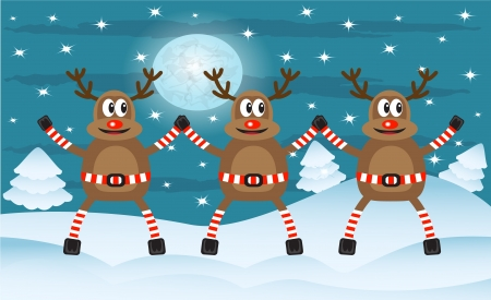 three cartoon Christmas deer amid snowy forests and night Vector