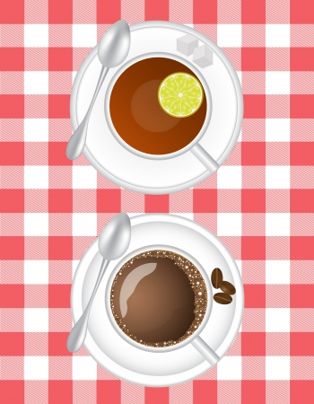 hot cup: coffee and tea with lemon in a white cup on a saucer with a spoon on a table cloth background