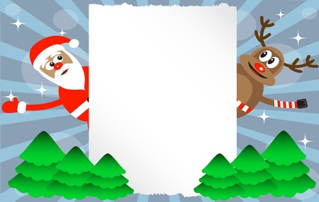 cartoon deer and Santa-Claus sheet of paper and green trees Vector