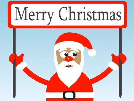Santa Claus with a congratulatory poster on a light background Stock Vector - 15588521