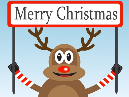 Christmas deer with a congratulatory poster on a light background Stock Vector - 15588522