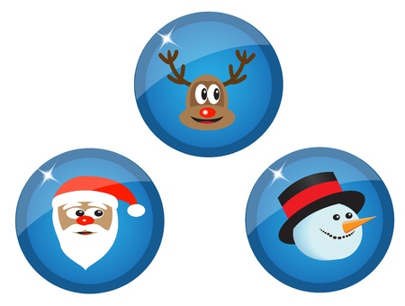 blue icons with Christmas characters, Santa Claus, snowman and reindeer Stock Vector - 15588523