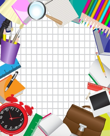 office supply: frame is composed of various school supplies on the background of the sheet in a cage     Illustration