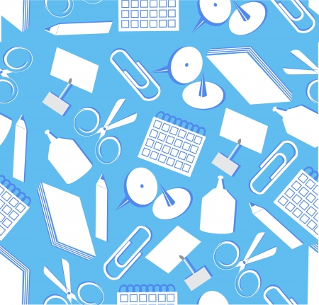 Seamless background with the image of various stationery Vector