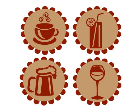 Icons featuring drinks, beer, wine, champagne, cocktails and coffee or tea Vector