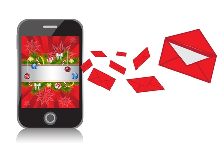 Mobile Phone with New Year background sends messages in the form of red envelopes      Vector
