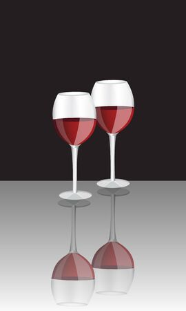 two glasses of red wine on a black background and a shiny surface Stock Vector - 15733013